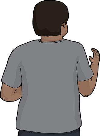 Illustratie van geïsoleerde Aziatische man op achteraanzicht golvende hand Stock Illustratie