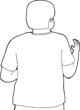 Schetsen cartoon van de rug van persoon wuivende hand