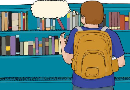 rear view: Rear view of student at library reaching for book Illustration