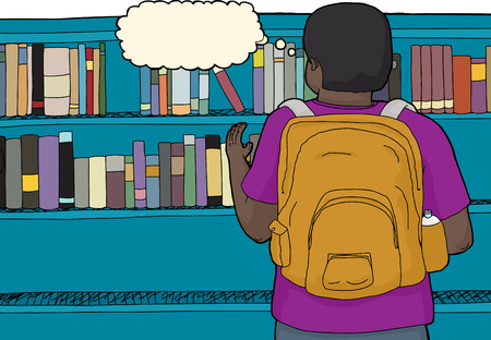 thinking student: Thinking student reaching for book on shelf Illustration