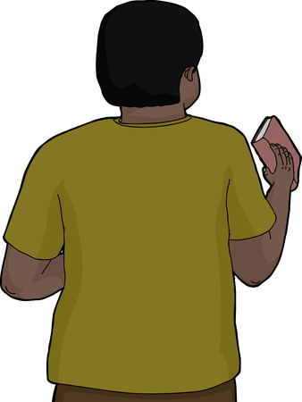 rear view: Rear view illustration of Black person holding book Illustration