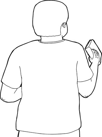 replacing: Rear view outline cartoon of male holding book Illustration