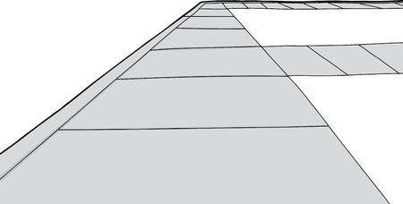 Isolated cartoon sidewalk with walkways over white background Illusztráció