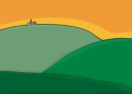 vanishing point: Background illustration of buildings on top of green hill