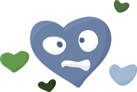 Confused cartoon symbol of a sick heart