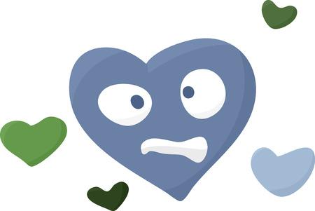 Confused cartoon symbol of a sick heart