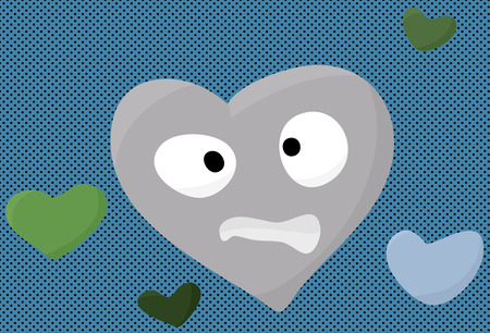 miserable: Nervous blue heart face cartoon over halftone