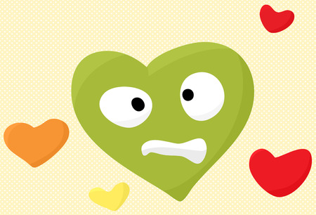 Uneasy green heart face cartoon symbol over yellow