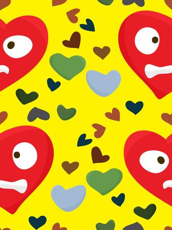 heartsick: Modelo incons�til de los angustiados corazones rojos sobre amarillo