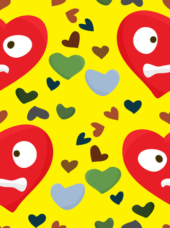 Seamless pattern of distraught red hearts over yellow