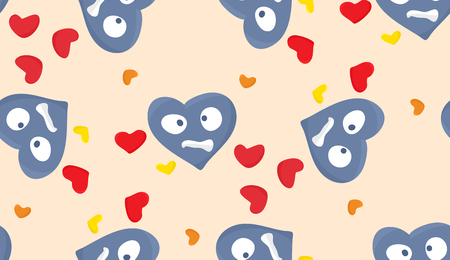 Topsy turvy miserable blue hearts in seamless pattern