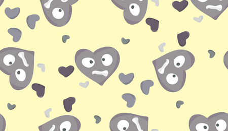 Seamless background pattern of stressed out gray hearts