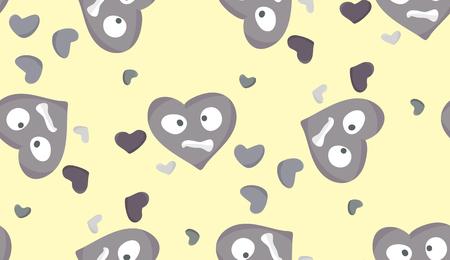 perişan: Stresli gri kalplerin Seamless arka plan deseni