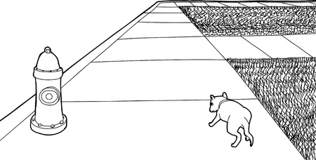 Outline rear view of single puppy walking on sidewalk