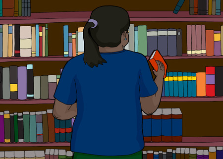 rear view: Rear view cartoon of Indian woman replacing book on shelf