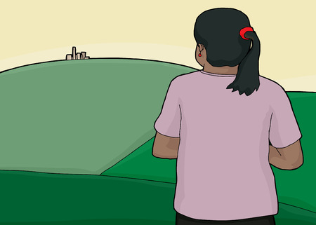 pony tail: Woman with pony tail and city on green hill