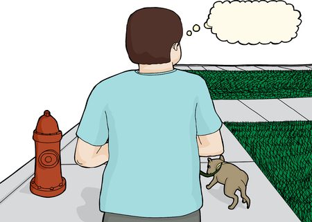 caucasian man: Caucasian man with thought bubble and pet dog Illustration