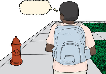 hydrant plug: Cartoon of thinking person with backpack on sidewalk