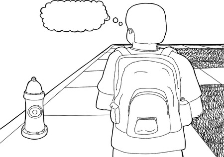 fire plug: Outline cartoon of student with backpack on sidewalk Illustration