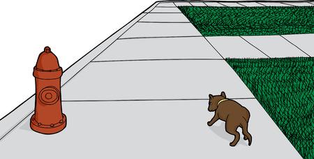 Rear view of cartoon dog walking along sidewalk