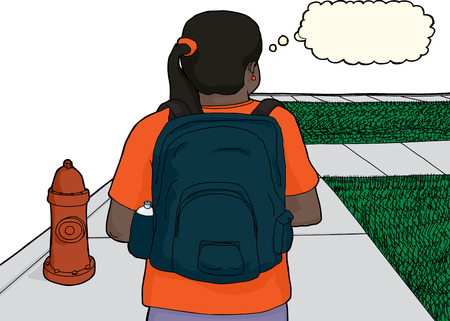 fire plug: Single female Hispanic student walking near fire hydrant Illustration