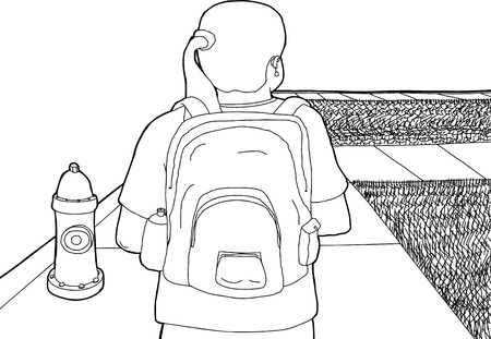 Outline cartoon of female with backpack walking near fire plug