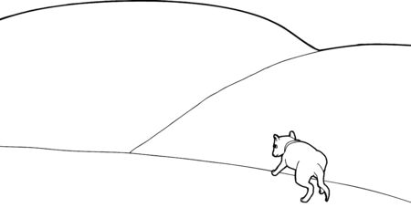 lost in space: Outline cartoon of lost dog alone on hill