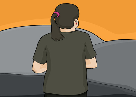 rear view girl: Cartoon of single white woman looking over gray hills Illustration