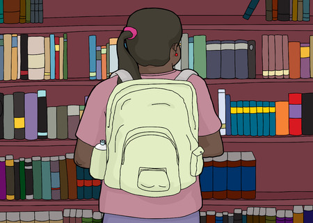 rear view girl: Rear view illustration of Hispanic student looking at bookshelf