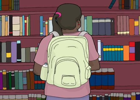 Rear view illustration of Hispanic student looking at bookshelf