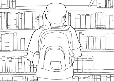 rear view girl: Cartoon outline of woman with backpack at library Illustration