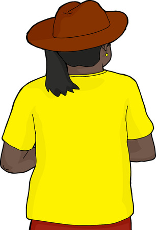 rear view girl: Hand drawn cartoon of African woman in cowboy hat