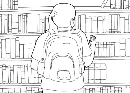 rear view girl: Outline cartoon of woman with backpack reaching for books