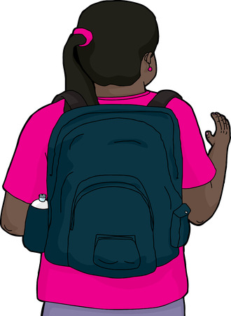 rear view girl: Illustration of woman in pink with backpack waving Illustration
