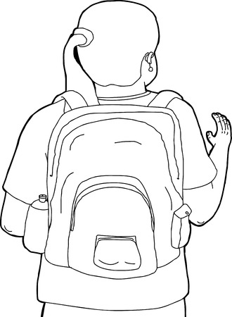 rear view girl: Cartoon of woman with backpack waving hands Illustration