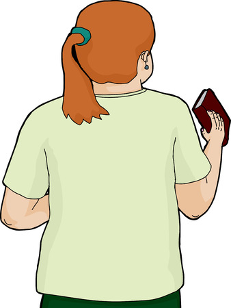 rear view girl: Isolated cartoon of woman in ponytail holding a book