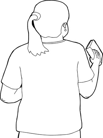 rear view girl: Outline cartoon of European woman holding a book