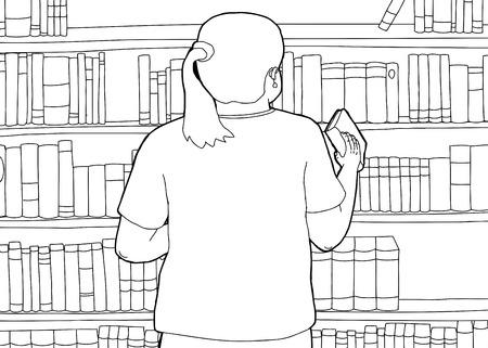 図書館の本を棚の女性の漫画を概要します。