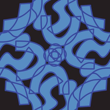 Blue and black kaleidoscope pattern in seamless background