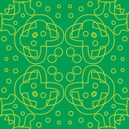 symmetry: Seamless symmetry of yellow lines over green Illustration