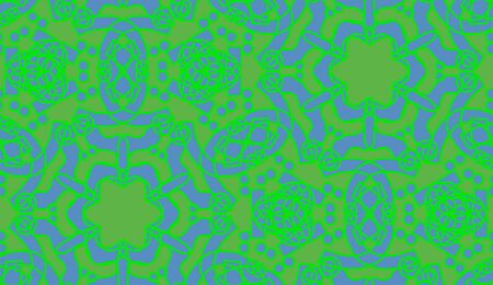 star shapes: Green kaleidoscope star shapes and outlines in seamless pattern