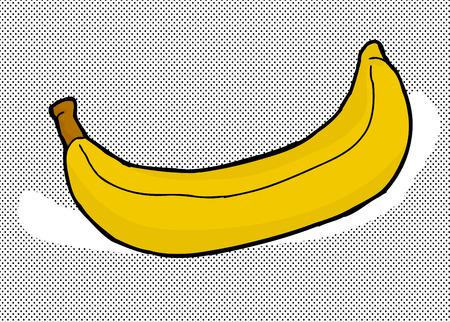 Single hand drawn banana over halftone background