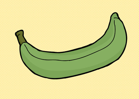 Green plantain cartoon over yellow halftone background Иллюстрация
