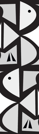 abstract birds: Gray abstract birds on black in repeating pattern Illustration