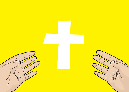 outstretched: Scarred hands outstretched in front of crucifix Illustration