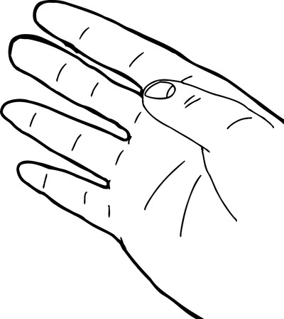 human right: Single outlined human right hand over white background Illustration