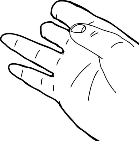 Outlined cartoon illustration of disabled human hand
