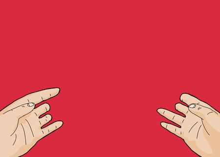 outstretched: Pair of open disabled hands over red background Illustration