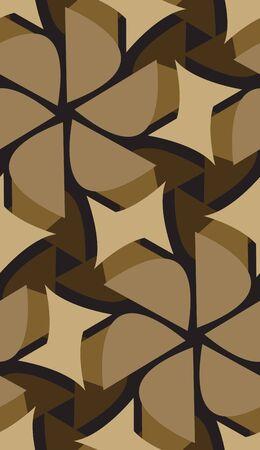 Seamless background pattern of brown floral pinwheels