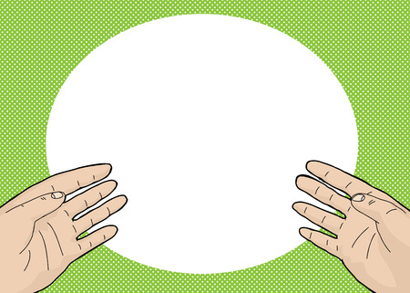 two point: Pair of open hands over green background cartoon